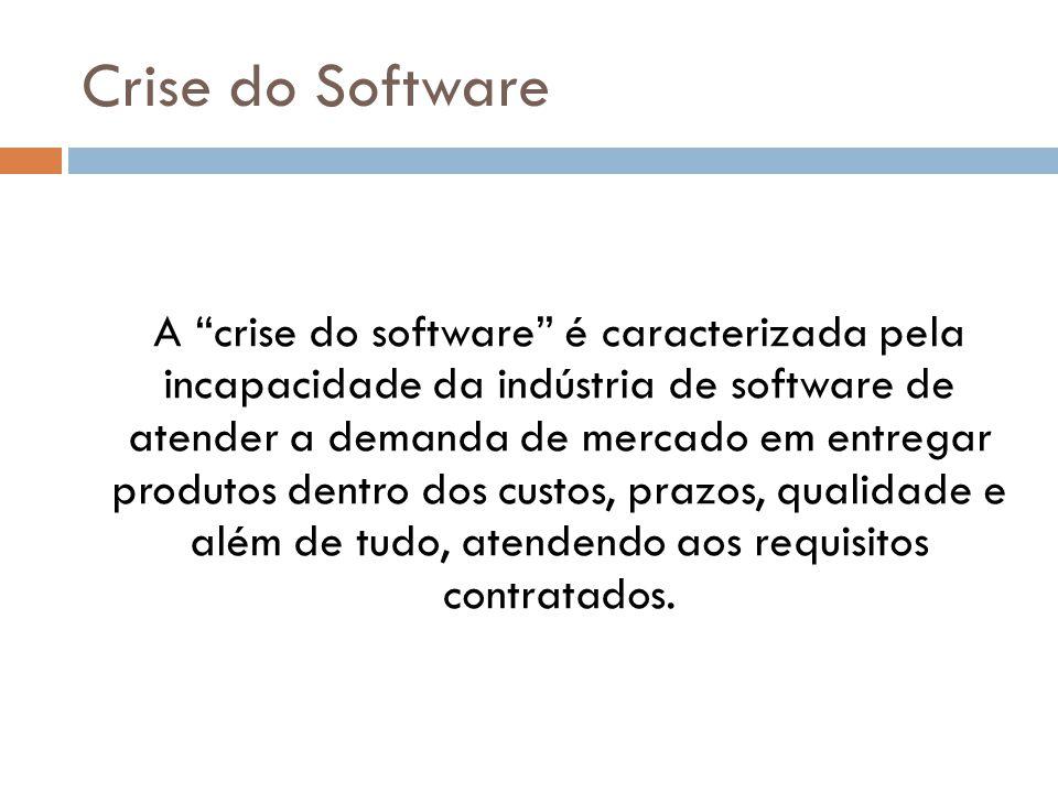A crise do software é caracterizada pela incapacidade da indústria de software de atender a demanda de mercado em entregar produtos dentro dos custos, prazos, qualidade e além de tudo, atendendo aos requisitos contratados.