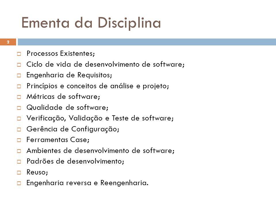 Ementa da Disciplina  Processos Existentes;  Ciclo de vida de desenvolvimento de software;  Engenharia de Requisitos;  Princípios e conceitos de a