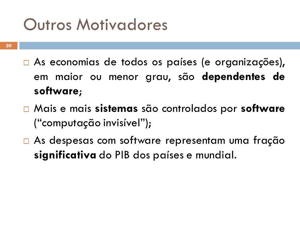Outros Motivadores  As economias de todos os países (e organizações), em maior ou menor grau, são dependentes de software;  Mais e mais sistemas são
