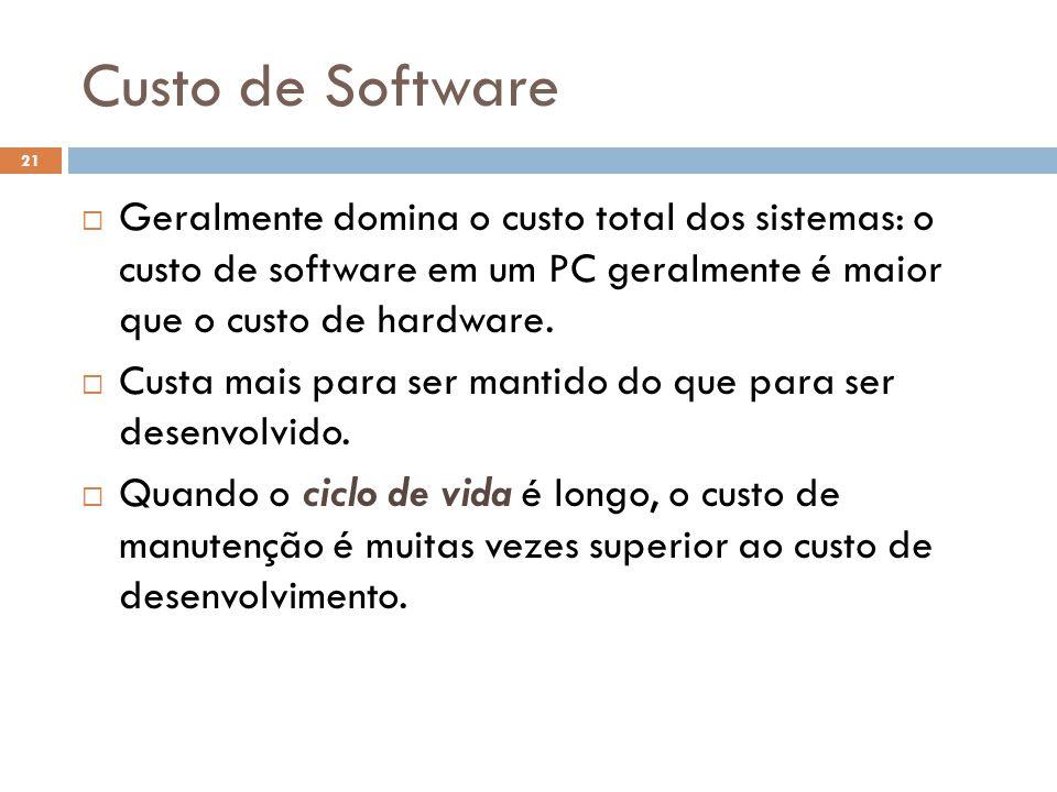 Custo de Software  Geralmente domina o custo total dos sistemas: o custo de software em um PC geralmente é maior que o custo de hardware.  Custa mai