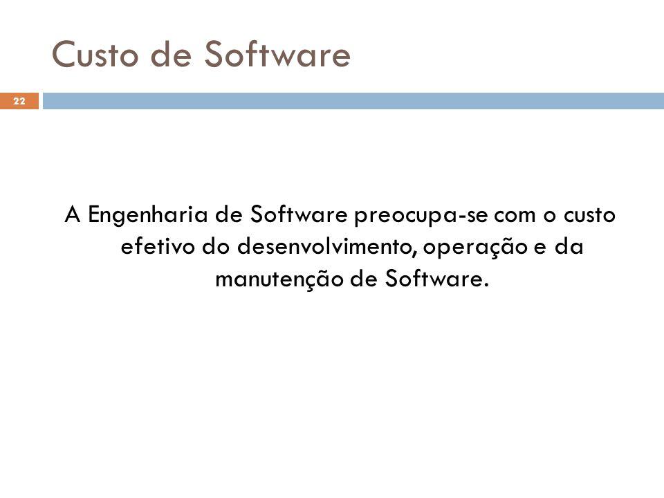 Custo de Software A Engenharia de Software preocupa-se com o custo efetivo do desenvolvimento, operação e da manutenção de Software. 22