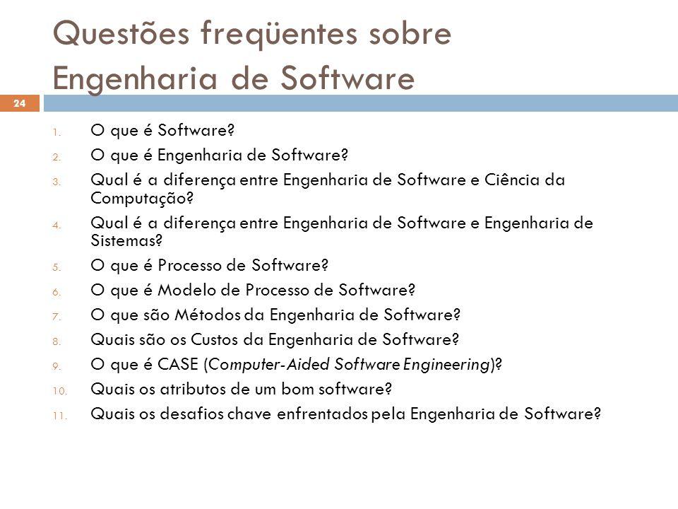 Questões freqüentes sobre Engenharia de Software 1. O que é Software? 2. O que é Engenharia de Software? 3. Qual é a diferença entre Engenharia de Sof