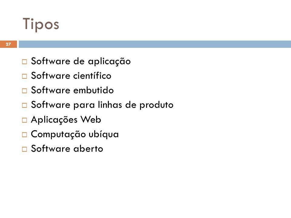 27  Software de aplicação  Software científico  Software embutido  Software para linhas de produto  Aplicações Web  Computação ubíqua  Software aberto Tipos