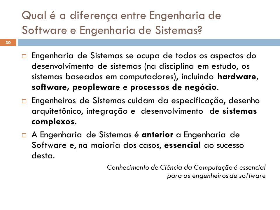 Qual é a diferença entre Engenharia de Software e Engenharia de Sistemas?  Engenharia de Sistemas se ocupa de todos os aspectos do desenvolvimento de