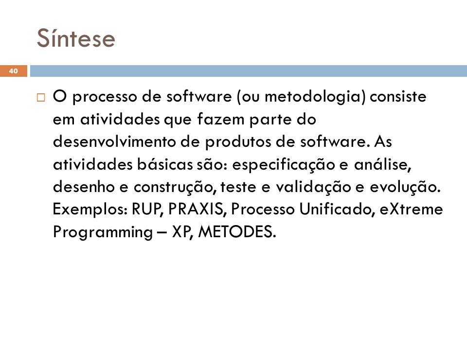 Síntese  O processo de software (ou metodologia) consiste em atividades que fazem parte do desenvolvimento de produtos de software.