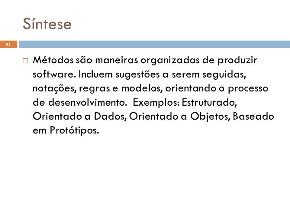 Síntese  Métodos são maneiras organizadas de produzir software.