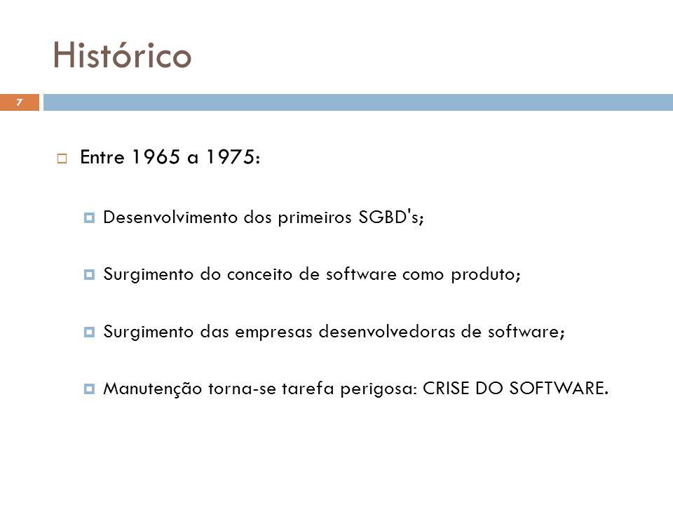  Entre 1965 a 1975:  Desenvolvimento dos primeiros SGBD s;  Surgimento do conceito de software como produto;  Surgimento das empresas desenvolvedoras de software;  Manutenção torna-se tarefa perigosa: CRISE DO SOFTWARE.
