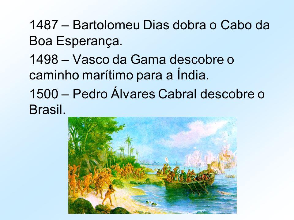 1487 – Bartolomeu Dias dobra o Cabo da Boa Esperança. 1498 – Vasco da Gama descobre o caminho marítimo para a Índia. 1500 – Pedro Álvares Cabral desco