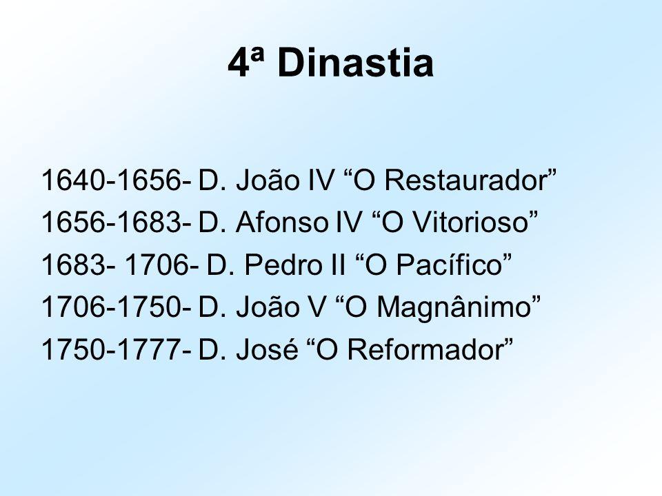 """4ª Dinastia 1640-1656- D. João IV """"O Restaurador"""" 1656-1683- D. Afonso IV """"O Vitorioso"""" 1683- 1706- D. Pedro II """"O Pacífico"""" 1706-1750- D. João V """"O M"""
