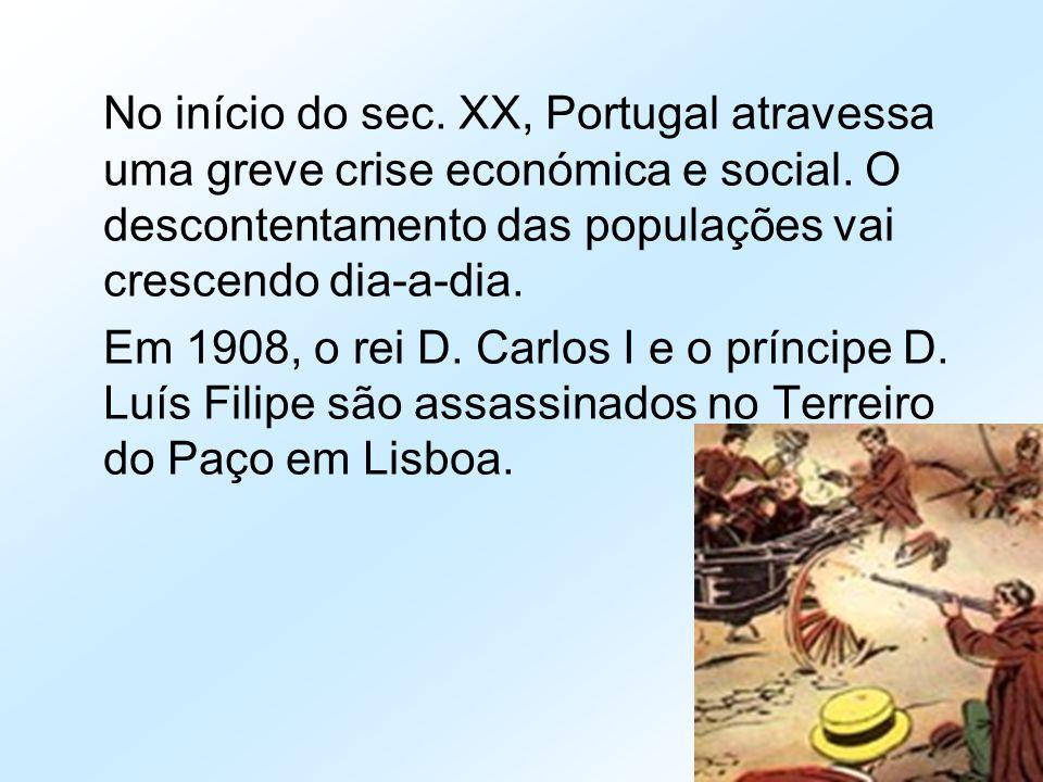 No início do sec. XX, Portugal atravessa uma greve crise económica e social. O descontentamento das populações vai crescendo dia-a-dia. Em 1908, o rei