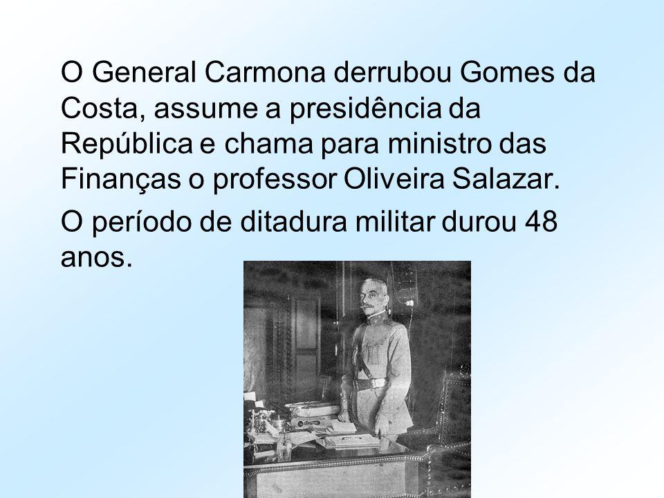 O General Carmona derrubou Gomes da Costa, assume a presidência da República e chama para ministro das Finanças o professor Oliveira Salazar. O períod