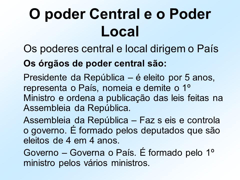 O poder Central e o Poder Local Os poderes central e local dirigem o País Os órgãos de poder central são: Presidente da República – é eleito por 5 ano