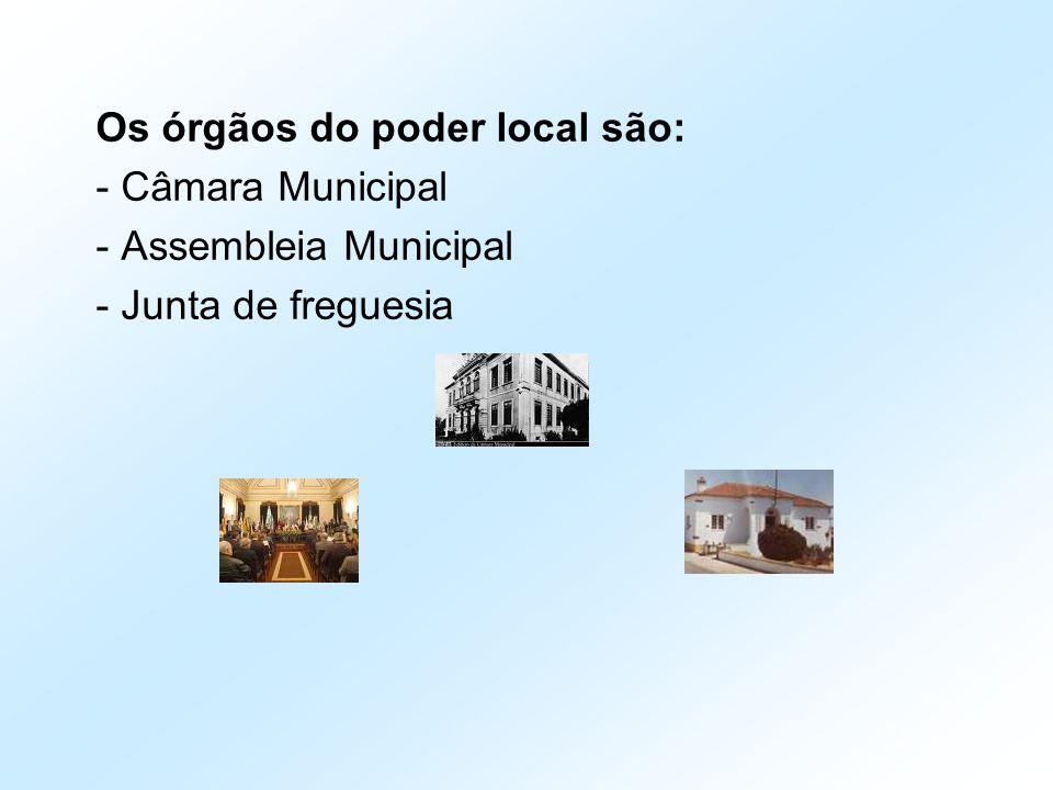 Os órgãos do poder local são: - Câmara Municipal - Assembleia Municipal - Junta de freguesia