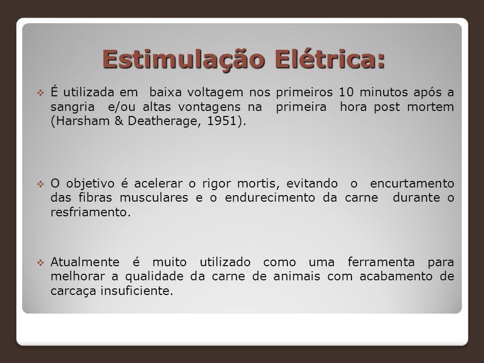Estimulação Elétrica:  É utilizada em baixa voltagem nos primeiros 10 minutos após a sangria e/ou altas vontagens na primeira hora post mortem (Harsh