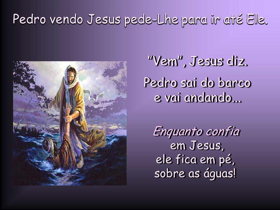 Pedro vendo Jesus pede-Lhe para ir até Ele. Vem , Jesus diz.
