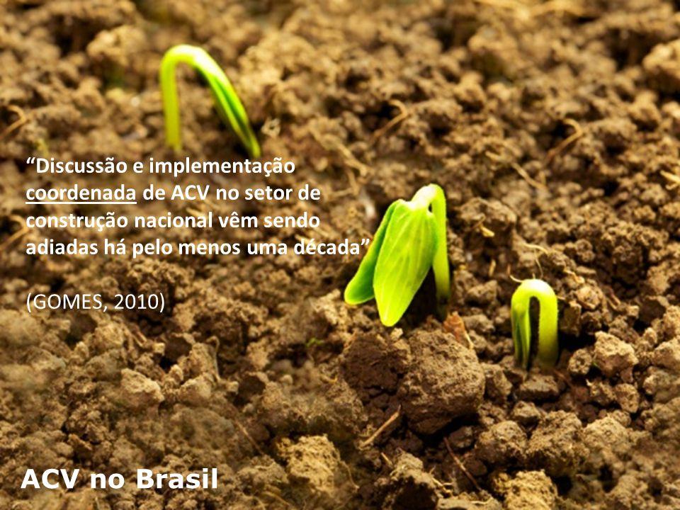"""ACV no Brasil """"Discussão e implementação coordenada de ACV no setor de construção nacional vêm sendo adiadas há pelo menos uma década"""" (GOMES, 2010)"""