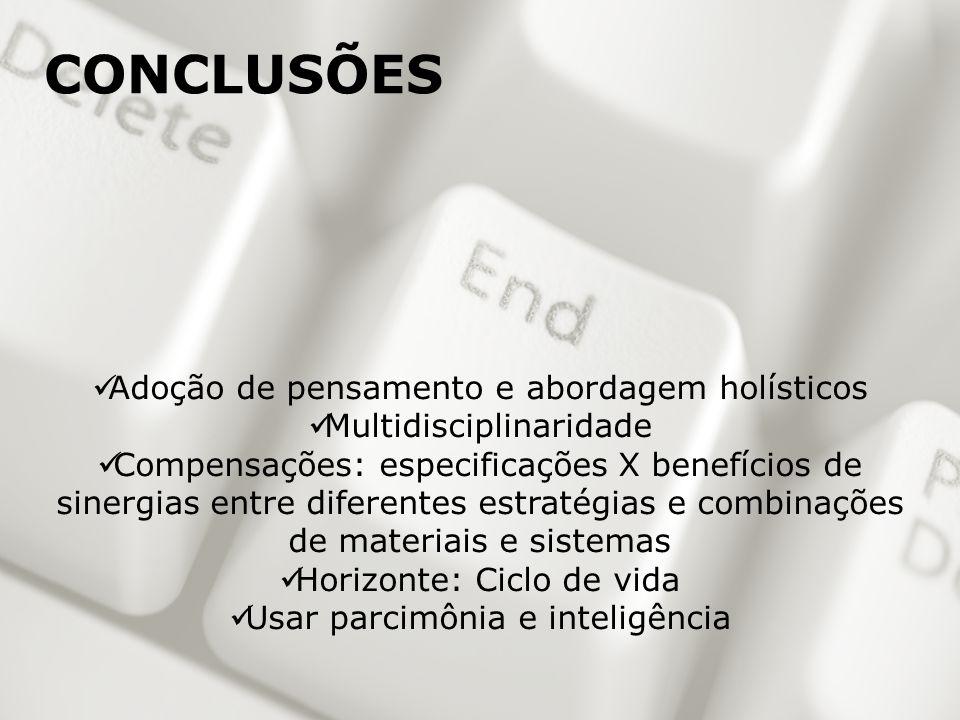 Adoção de pensamento e abordagem holísticos Multidisciplinaridade Compensações: especificações X benefícios de sinergias entre diferentes estratégias