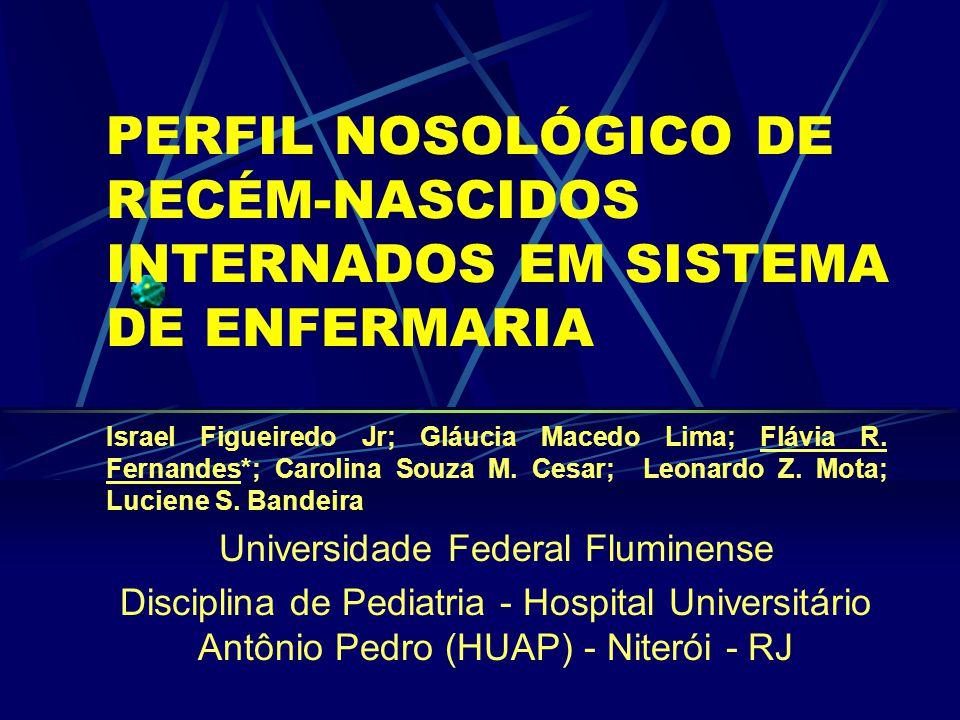PERFIL NOSOLÓGICO DE RECÉM-NASCIDOS INTERNADOS EM SISTEMA DE ENFERMARIA Israel Figueiredo Jr; Gláucia Macedo Lima; Flávia R.