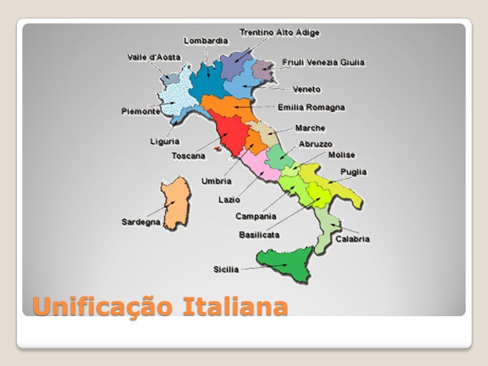 A Itália, até metade do século XIX era dividida em diversas regiões autônomas que sofriam com a imposição de austríacos, franceses e do papado.