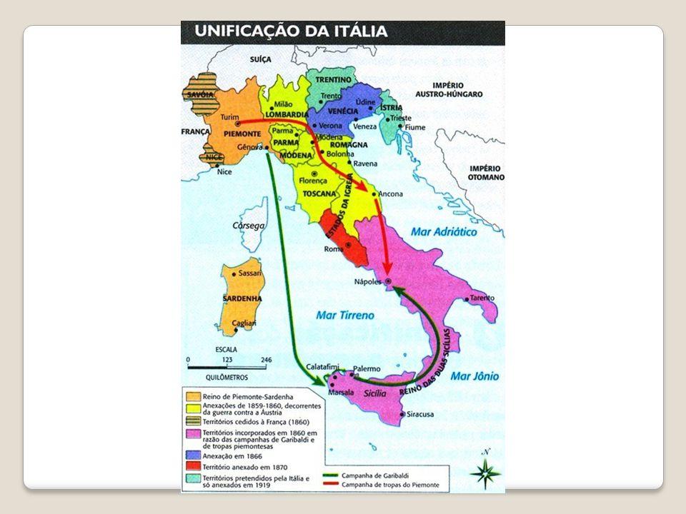 Processo de Unificação: 1- Guerra do reino de Piemonte contra a Áustria – a vitória garantiu territórios no norte; 2 – Estas vitórias deram início a movimentos no sul liderados por Garibaldi.