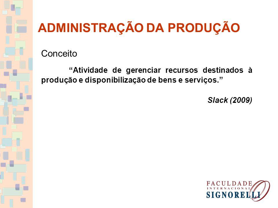 """ADMINISTRAÇÃO DA PRODUÇÃO Conceito """"Atividade de gerenciar recursos destinados à produção e disponibilização de bens e serviços."""" Slack (2009)"""