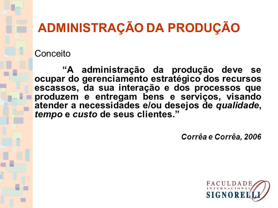 """ADMINISTRAÇÃO DA PRODUÇÃO Conceito """"A administração da produção deve se ocupar do gerenciamento estratégico dos recursos escassos, da sua interação e"""