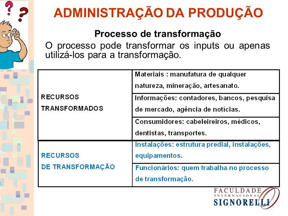 ADMINISTRAÇÃO DA PRODUÇÃO Processo de transformação O processo pode transformar os inputs ou apenas utilizá-los para a transformação.