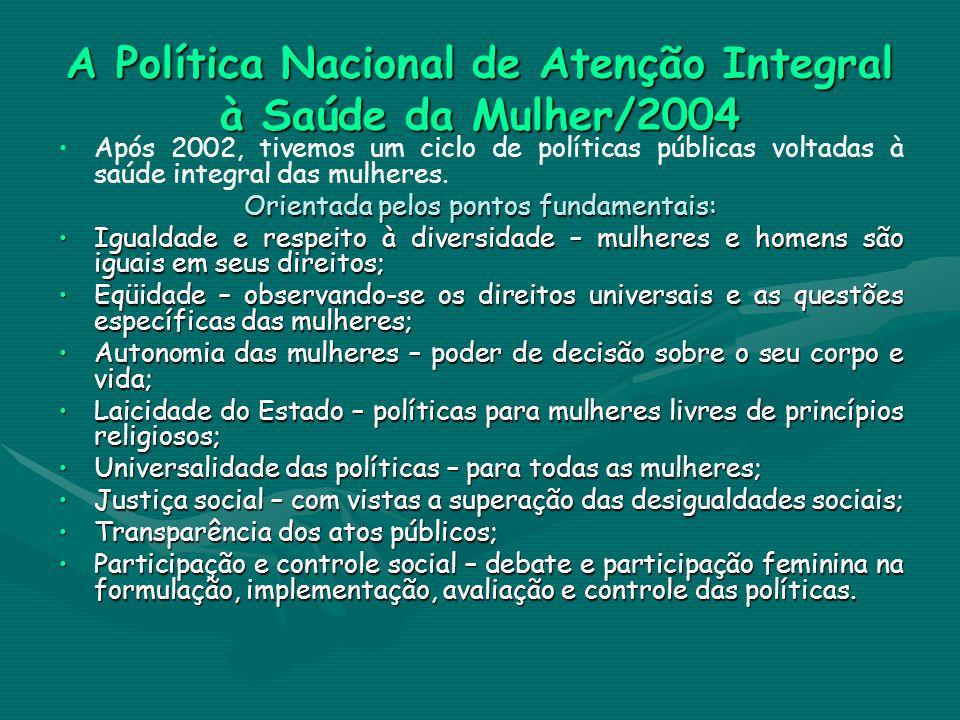 A Política Nacional de Atenção Integral à Saúde da Mulher/2004 Após 2002, tivemos um ciclo de políticas públicas voltadas à saúde integral das mulhere