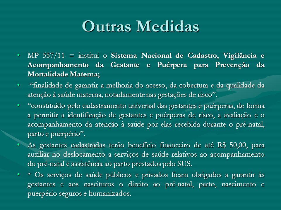 Outras Medidas MP 557/11 = institui o Sistema Nacional de Cadastro, Vigilância e Acompanhamento da Gestante e Puérpera para Prevenção da Mortalidade M