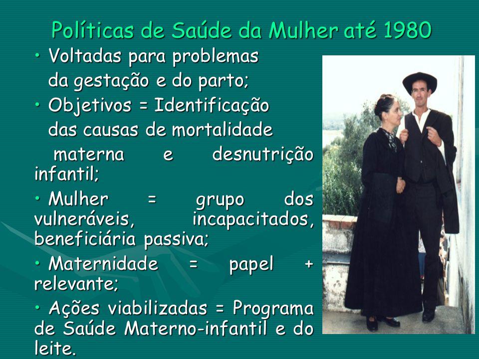 Políticas de Saúde da Mulher até 1980 Voltadas para problemasVoltadas para problemas da gestação e do parto; Objetivos = IdentificaçãoObjetivos = Iden