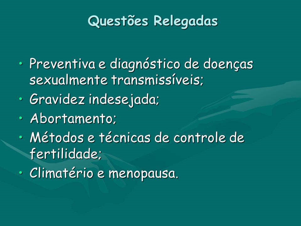Questões Relegadas Preventiva e diagnóstico de doenças sexualmente transmissíveis;Preventiva e diagnóstico de doenças sexualmente transmissíveis; Grav