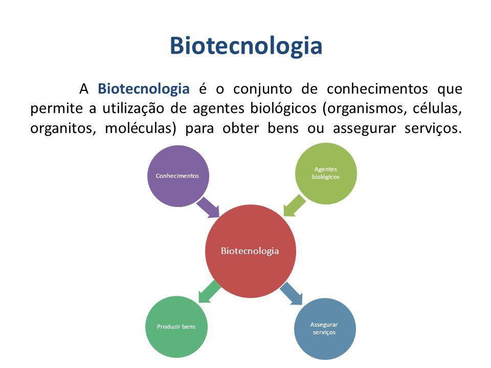Biotecnologia A Biotecnologia é o conjunto de conhecimentos que permite a utilização de agentes biológicos (organismos, células, organitos, moléculas) para obter bens ou assegurar serviços.