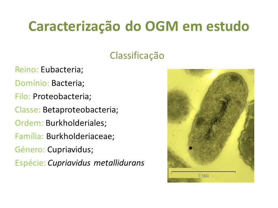 Caracterização do OGM em estudo Classificação Reino: Eubacteria; Domínio: Bacteria; Filo: Proteobacteria; Classe: Betaproteobacteria; Ordem: Burkholderiales; Família: Burkholderiaceae; Género: Cupriavidus; Espécie: Cupriavidus metallidurans