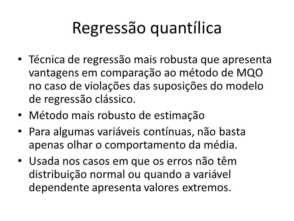 Técnica de regressão mais robusta que apresenta vantagens em comparação ao método de MQO no caso de violações das suposições do modelo de regressão cl