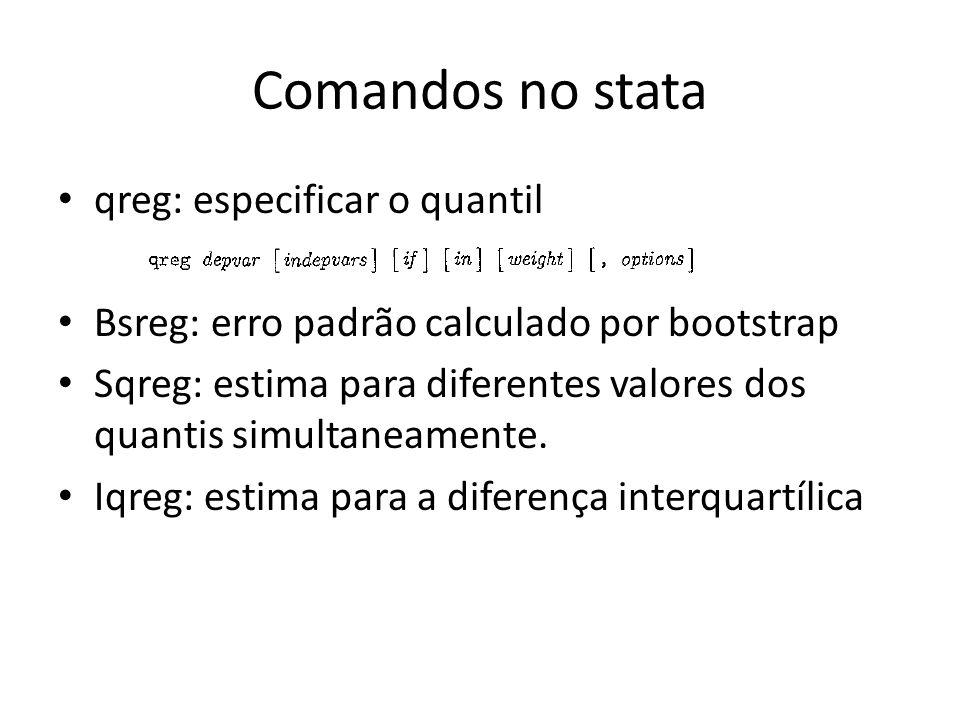 Comandos no stata qreg: especificar o quantil Bsreg: erro padrão calculado por bootstrap Sqreg: estima para diferentes valores dos quantis simultaneam