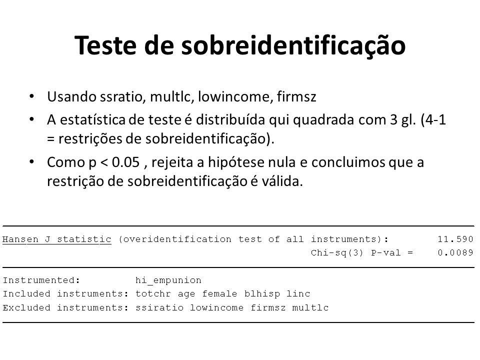 Usando ssratio, multlc, lowincome, firmsz A estatística de teste é distribuída qui quadrada com 3 gl. (4-1 = restrições de sobreidentificação). Como p