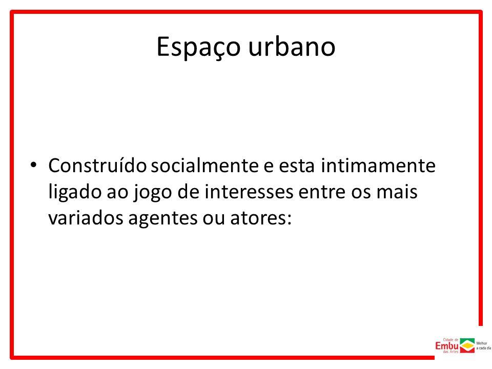 Espaço urbano Construído socialmente e esta intimamente ligado ao jogo de interesses entre os mais variados agentes ou atores:
