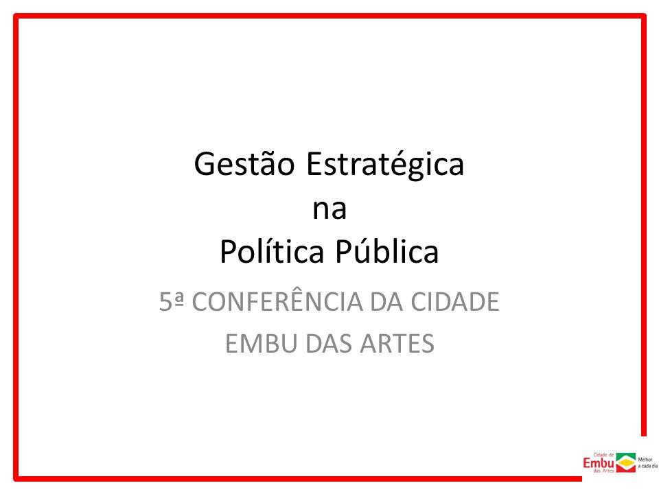 Gestão Estratégica na Política Pública 5ª CONFERÊNCIA DA CIDADE EMBU DAS ARTES