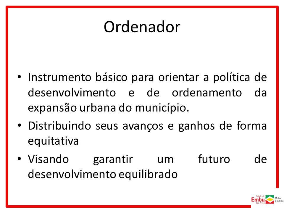 Ordenador Instrumento básico para orientar a política de desenvolvimento e de ordenamento da expansão urbana do município.