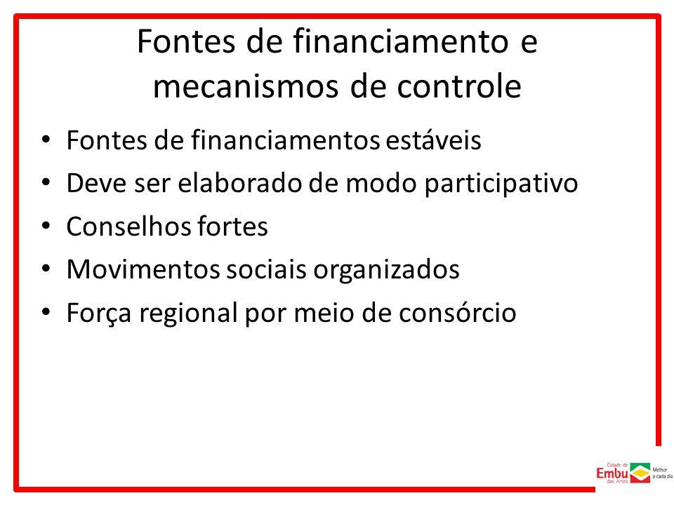 Fontes de financiamento e mecanismos de controle Fontes de financiamentos estáveis Deve ser elaborado de modo participativo Conselhos fortes Movimentos sociais organizados Força regional por meio de consórcio