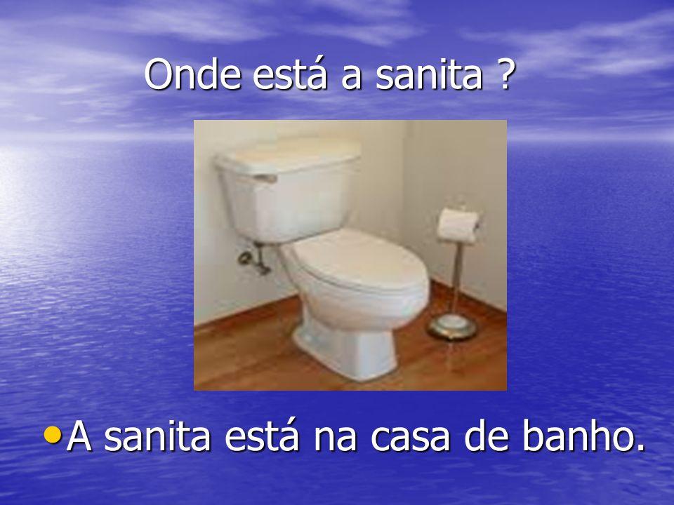 Onde está a sanita ? Onde está a sanita ? A sanita está na casa de banho. A sanita está na casa de banho.