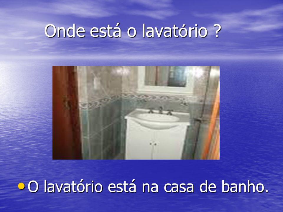 Onde está o lavatório ? O lavatório está na casa de banho. O lavatório está na casa de banho.