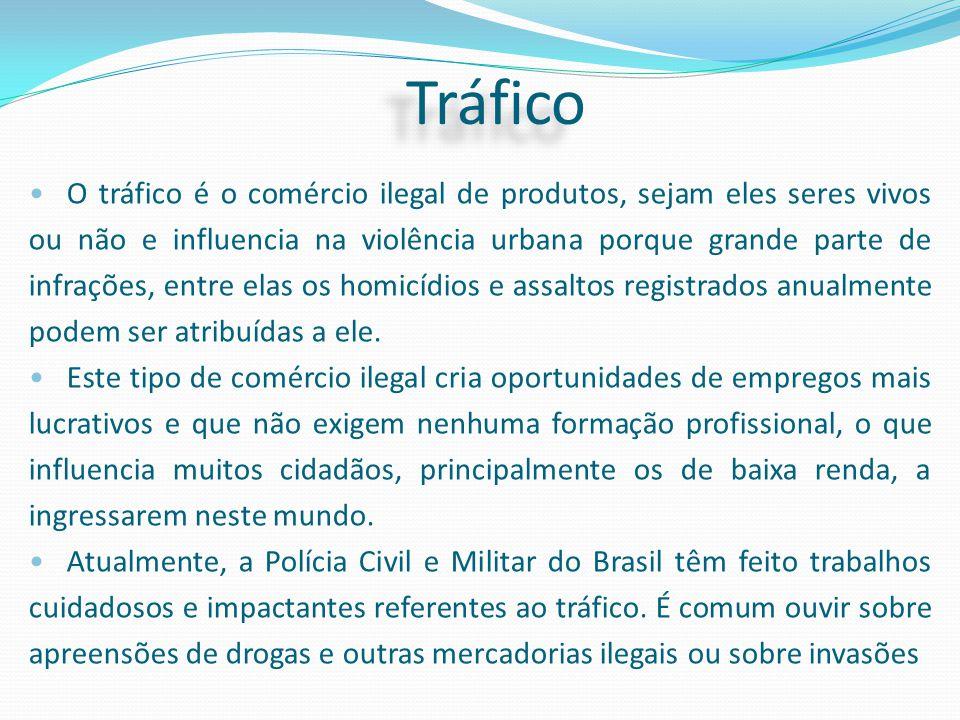 O tráfico é o comércio ilegal de produtos, sejam eles seres vivos ou não e influencia na violência urbana porque grande parte de infrações, entre elas
