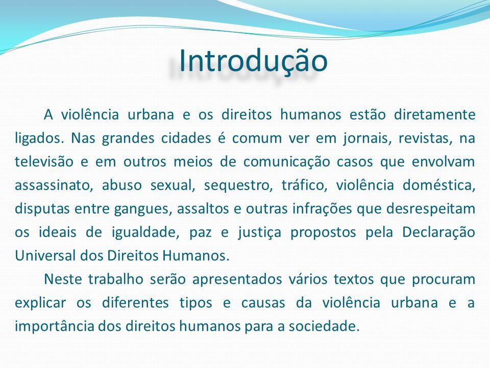 Introdução A violência urbana e os direitos humanos estão diretamente ligados. Nas grandes cidades é comum ver em jornais, revistas, na televisão e em
