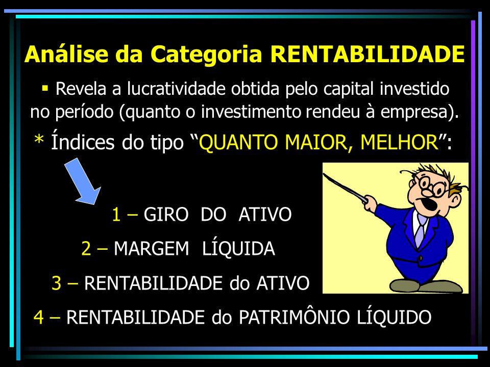 Análise da Categoria RENTABILIDADE  Revela a lucratividade obtida pelo capital investido no período (quanto o investimento rendeu à empresa). * Índic