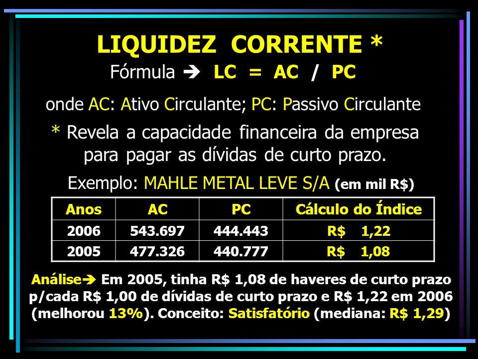LIQUIDEZ CORRENTE * Fórmula  LC = AC / PC onde AC: Ativo Circulante; PC: Passivo Circulante * Revela a capacidade financeira da empresa para pagar as