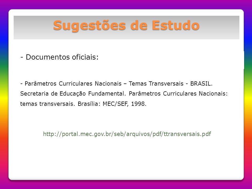Sugestões de Estudo - Documentos oficiais: - Parâmetros Curriculares Nacionais – Temas Transversais - BRASIL. Secretaria de Educação Fundamental. Parâ