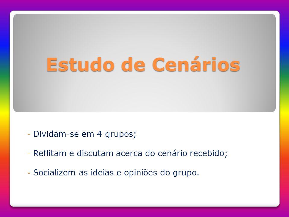 Estudo de Cenários - Dividam-se em 4 grupos; - Reflitam e discutam acerca do cenário recebido; - Socializem as ideias e opiniões do grupo.