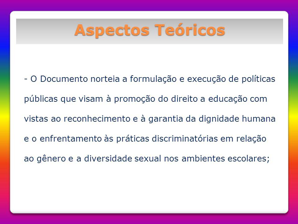 Aspectos Teóricos - O Documento norteia a formulação e execução de políticas públicas que visam à promoção do direito a educação com vistas ao reconhe