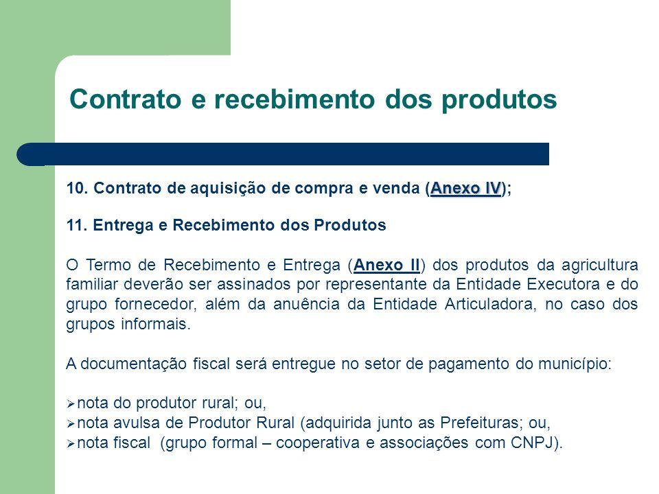 Contrato e recebimento dos produtos Anexo IV Anexo IV 10. Contrato de aquisição de compra e venda (Anexo IV);Anexo IV 11. Entrega e Recebimento dos Pr